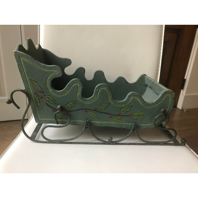 Folk Art Gustavian Green Wood Sleigh Figurine For Sale - Image 3 of 5