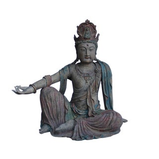 Chinese Rustic Distressed Fade Color Finish Wood Kwan Yin Statue For Sale