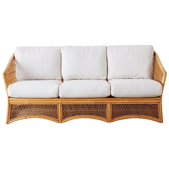 Midcentury Bamboo Rattan Wicker Three-Seat Sofa For Sale