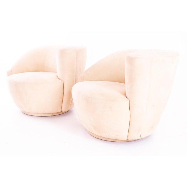 Hollywood Regency Mid Century Vladimir Kagan Nautilus Swivel Lounge Chairs - Pair For Sale - Image 3 of 11