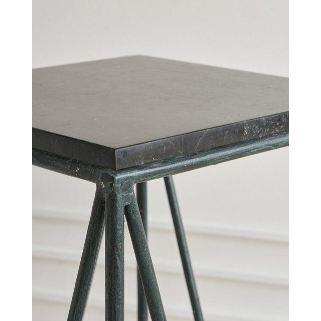 1990s Pair of Verdigris Iron and Black Marble Pedestals by Casa Bisque For Sale - Image 5 of 6