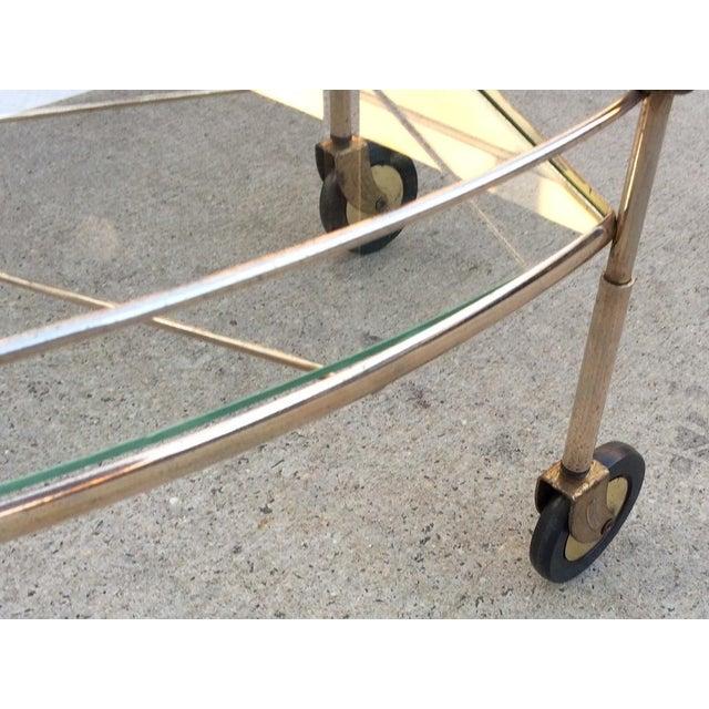 Mid-Century Brass & Glass Bar Cart - Image 9 of 11