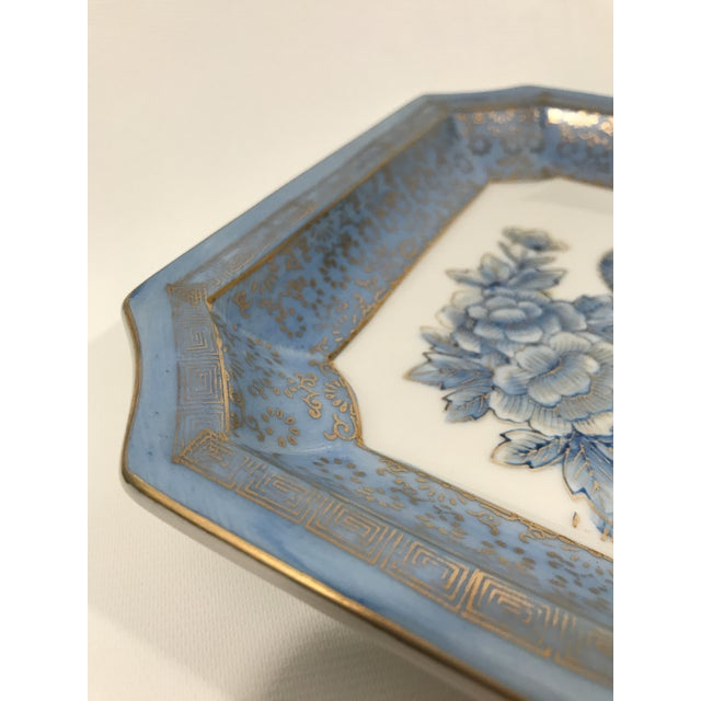 Square Blue Porcelain Chinoiserie Dish For Sale - Image 4 of 6
