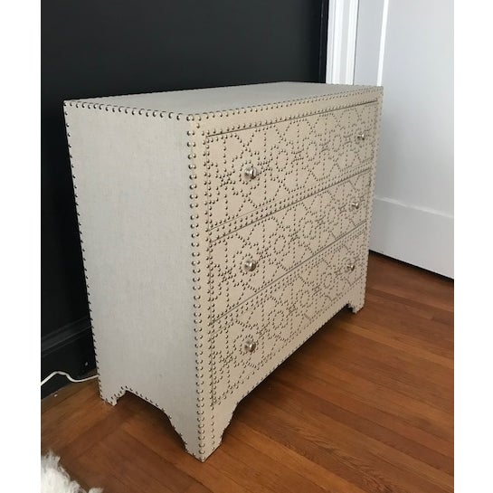 Linen and Nickel Nailhead 3-Drawer Chest - Image 4 of 7