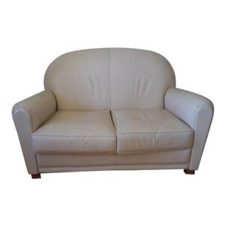 Grange Art Deco Off-White Leather Sofa