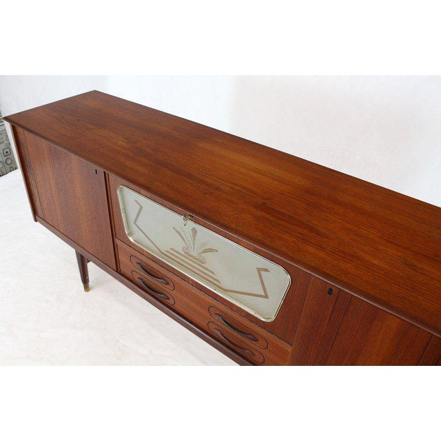 Danish Teak Long Sideboard Credenza With Art Deco Style Etched Glass Insert For Sale - Image 10 of 11