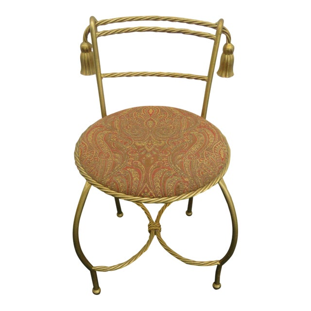 1970s Vintage Hollywood Regency Painted Gold Iron Vanity Stool For Sale
