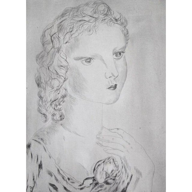 """Illustration """"Jeune Fille Avec Une Rose"""" (Young Girl With a Rose) Etching by Leonard Foujita For Sale - Image 3 of 5"""