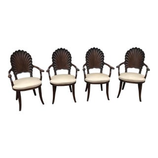 Four Italian Carved Wood Venetain Grotto Shell Arm Chairs For Sale