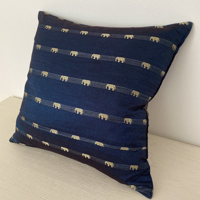 Silk Blue Thai Silk Pillow With Elephant Motif For Sale - Image 7 of 13