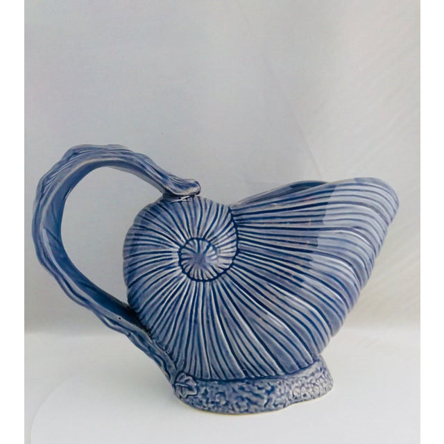Vintage beautiful ceramic painted Blue Nautilus Ceramic Pitcher and pair of shakers eggshell white scallop Shell shape....
