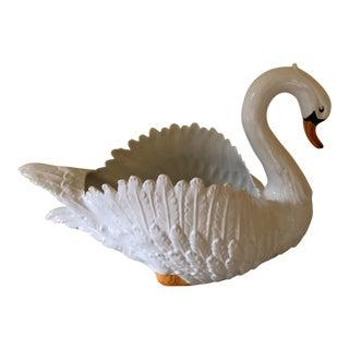 1980s Traditional Bassano Ceramic Figural Swan Bowl