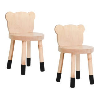 Nico & Yeye Baba Kids Chair Solid Maple Black - Set of 2 For Sale