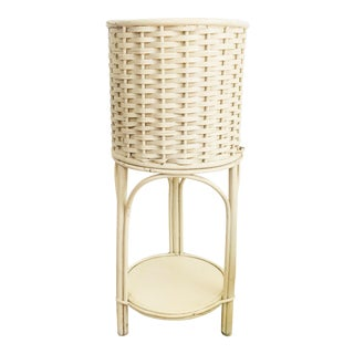 Vintage White Wicker Plant Stand For Sale