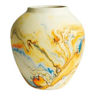 Vintage Blue & Orange Nemadji Pottery Vase For Sale