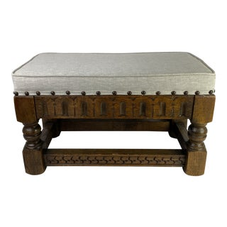 English Carved Upholstered Bench For Sale