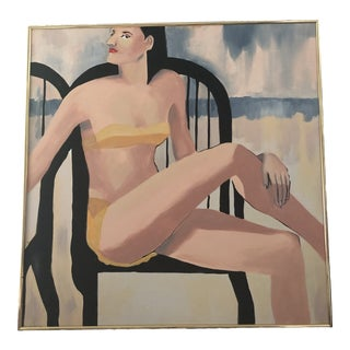 1980s Woman in Yellow Bikini Painting For Sale