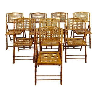 Vintage Bamboo & Ratan Folding Chairs - Set of 8 For Sale