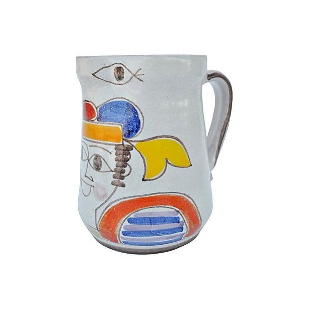 Hand-Painted Italian Pitcher For Sale