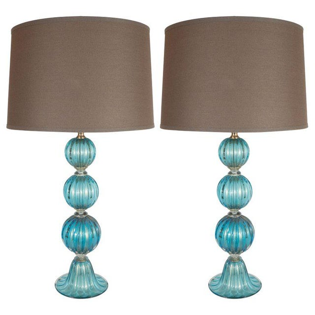 Metal Modernist Ribbed and Banded Turquoise With 24kt Gold Flecks Table Lamps - a Pair For Sale - Image 7 of 7