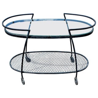 Mid-Century Modern Woodard Oval Two-Tier Tea Bar Serving Cart With Glass Shelf For Sale