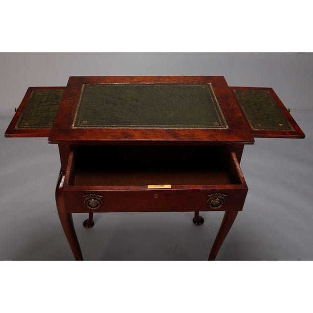 Mahogany Side Table Leather Top and Single Drawer For Sale - Image 7 of 7