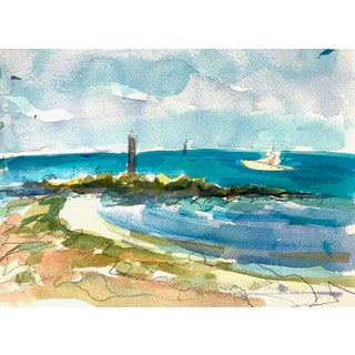 """Key West #8"" Seascape Original Watercolor Painting by Rebecca Dvorak For Sale"