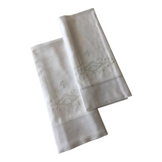 "1920s Shabby Chic European Embroidered Large Pillow Cases Monogram ""RG"" - a Pair For Sale"