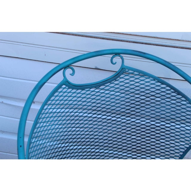 Blue Mid Century Modern Aqua Blue Wrought Iron Patio Set With Lounge on Wheels For Sale - Image 8 of 13