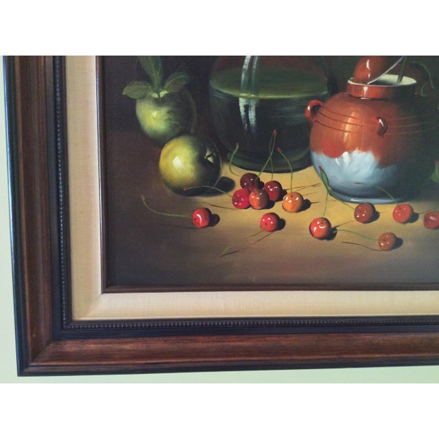 Paint Mid-Century Frank Lean Still Life in Oil For Sale - Image 7 of 13