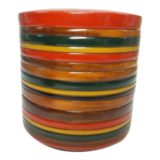 Mid-Century Modern Japanese Wood 3 Tier Lidded Box Red Yellow Black Green Antique Vintage For Sale
