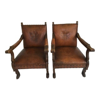 20th Century Traditional Leather Club Chairs - a Pair For Sale