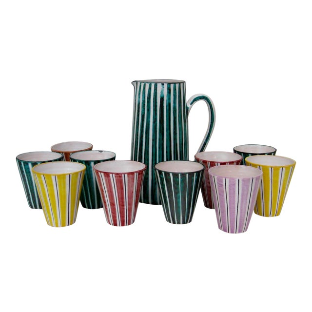 Italian Ceramic Pitcher With Cups - 11 Pieces - Image 1 of 9