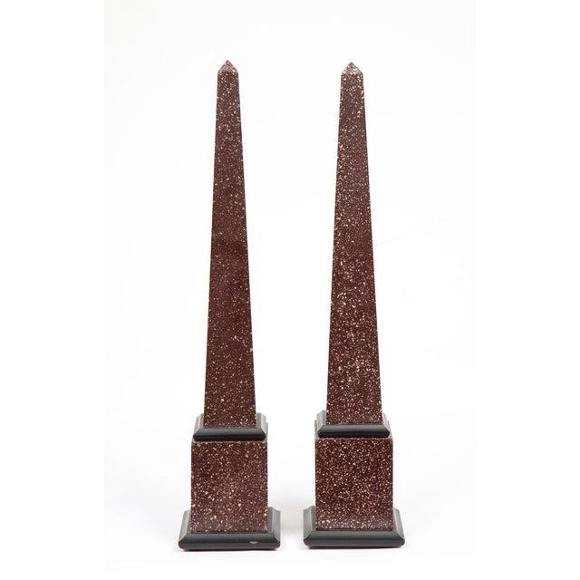 Brown Fine Pair of Italian Grand Tour Egyptian Porphyry Obelisks For Sale - Image 8 of 13