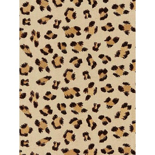 Sample, Scalamandre Broderie Leopard, Chocolate on Sand Fabric For Sale