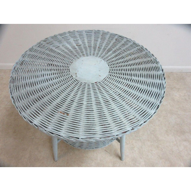 Wicker Antique Victorian Wicker Patio Dinette Table For Sale - Image 7 of 8