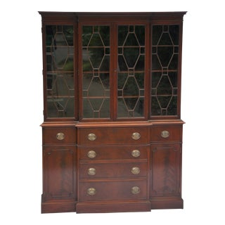 Antique Regency Flame Mahogany Latticework Breakfront Secretaire Cabinet For Sale