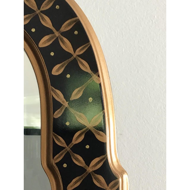 1980s 1980s La Barge Style Queen Anne Hand Painted Black Lacquer Mirror For Sale - Image 5 of 7