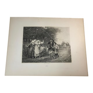 """1892 Antique Aesop's Fables """"The Miller, His Son and the Ass"""" Photogravure Print For Sale"""