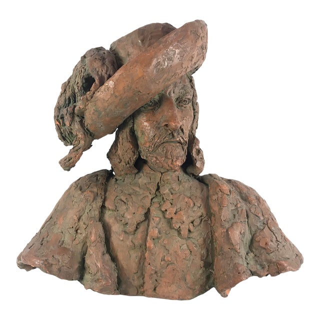 1970s Vintage Marianne de Hatten Groh Hand Sculpted Terra Cotta Musketeer Bust For Sale