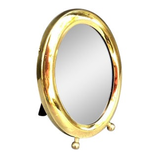 Small Gold-Frame Standing Mirror For Sale