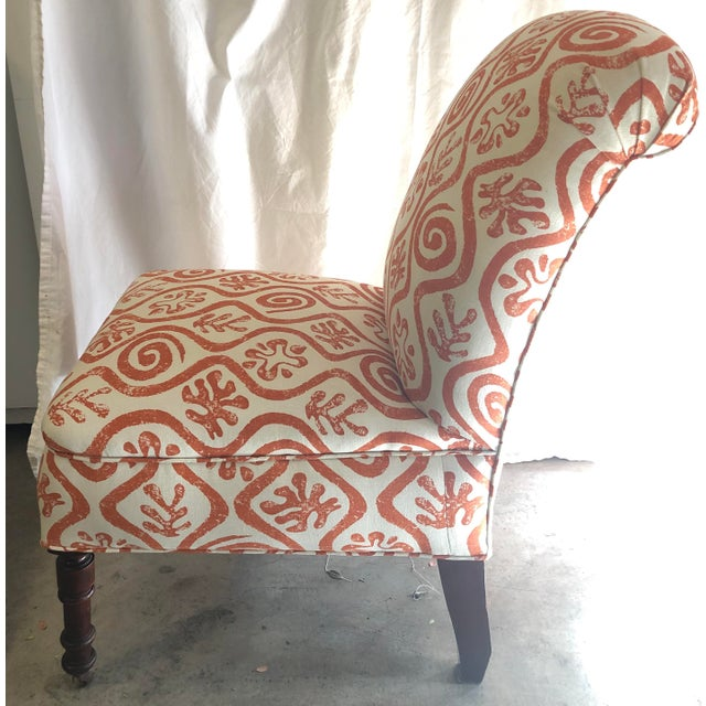 Boho Chic 1940s Antique Parlor Chair Newly Reupholstered in Peter Fasano Fabric For Sale - Image 3 of 6