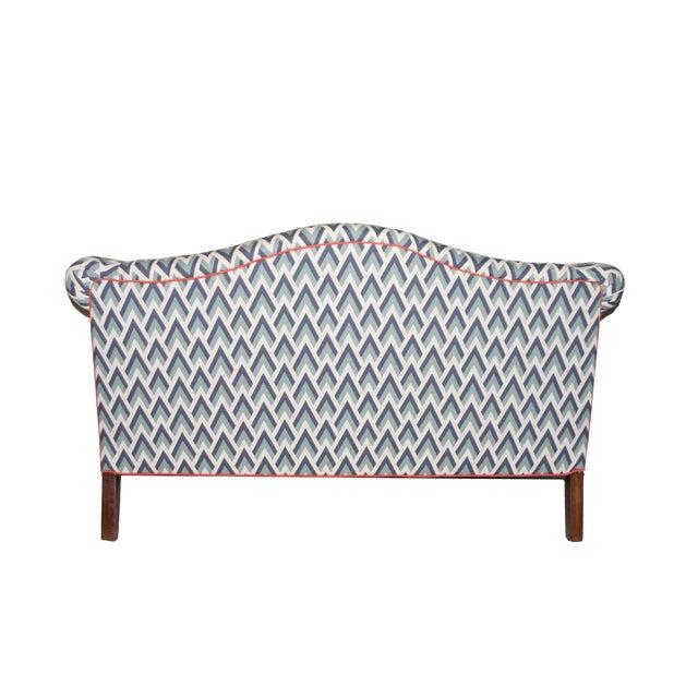 Refurbished Upholstered Camel Back Blue Sofa - Image 3 of 3