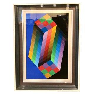 Victor Vasarely Op Art Screen Print For Sale