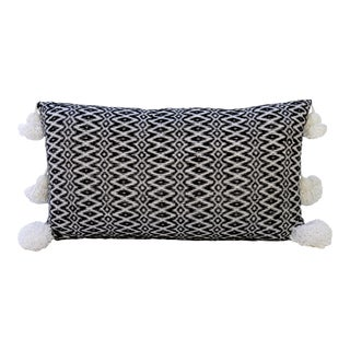 Boho Chic Black and White Woven Pillow For Sale