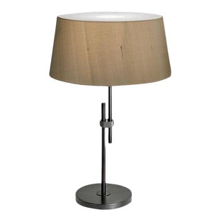 Black Brass Lamp With Shade For Sale