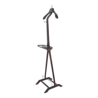 1950s Ico Parisi for Fratelli Reguitti Sculpted Italian Mahogany & Brass Gentleman's Valet Stand For Sale