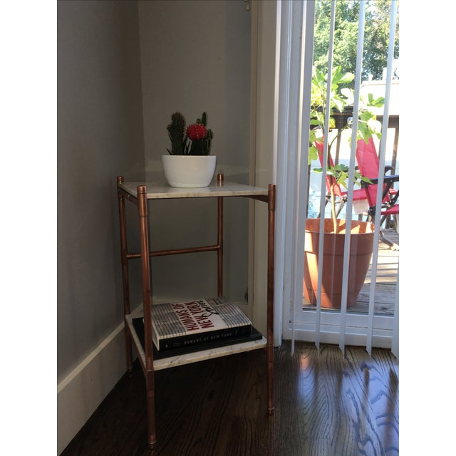 Handmade Copper & Marble Side Table - Image 3 of 6