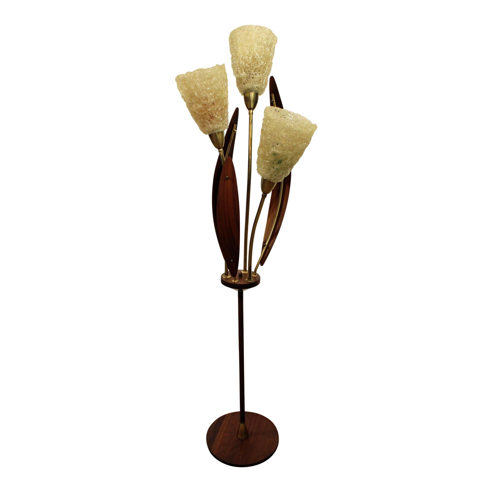 Mid Century Danish Modern Walnut Brass Spaghetti 3 Way Floor Lamp -