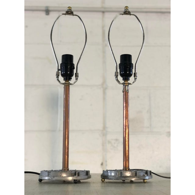 Copper Table Lamps With Recycled Car Parts, a Pair For Sale - Image 8 of 9